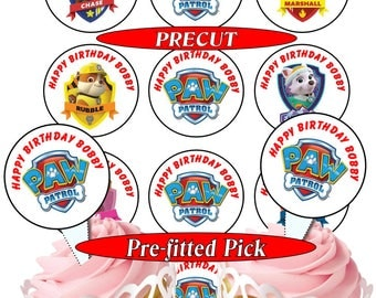 Paw Patrol Personalised pre-cut  50mm cupcake toppers, 4 choices