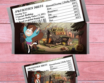 80% OFF SALE Gravity Falls Candy Bar Wrappers, Gravity Falls Favor, Chocolate Labels, Birthday Party, party favor, hershey wrappers