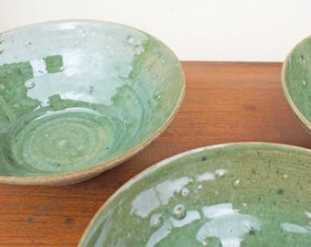 Pasta Bowl, Handmade Bowl, Stoneware Bowl, Handcrafted Bowl, Unique Gift, Hand Thrown Bowl, Green Bowl, Handmade Green Bowl, Green Bowl