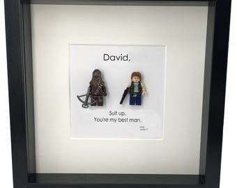 """Best man gift Han solo & Chewbacca """"Suit up"""" best man gift box wedding photo frame for groomsmen gifts Star wars gifts star wars weddings"""