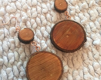 Handmade Ash Wood and Copper Earrings. Natural Finish Vegan / Eco Friendly Recycled Jewellery. Urban Meterials in a Modern Design suitable