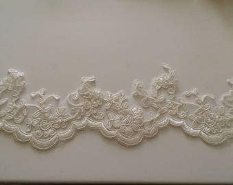 9 cm wide white ivory off-white guipure lace