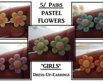 Pastel Flower Clip On Earrings (5) Prs Clip On Play Dress Up Girl Earrings Fun Earrings Party Dress Up Earrings Kids Gifts Party Favors