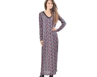 Chevron Print Maxi Dress, V Neck Maxi Dress, Long Sleeve Dress, Missoni Inspired Maxi S Made in USA