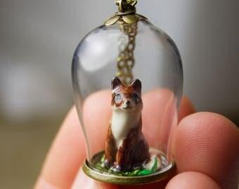 Handcrafted Ceramic Miniature Fox in Handblown Tiny Bell Jar pendant