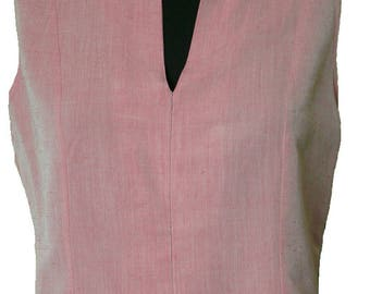 Pink and Pale Grey Two Tone Linen Sleeveless Top. Size 12. Vintage 1980s