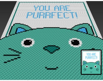 Purrfect crochet blanket pattern; c2c, cross stitch; graph; pdf download; no written counts or row-by-row instructions