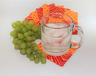 Orange & Red fabric coasters (set of 6)