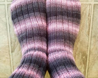 Socks, classic ribbed pink and grey