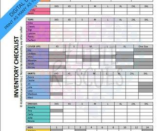 Updated LLR Inventory Checklist | Printable PDF | Includes All Styles & Sizes | Tally Sheet | Group Sales | Initial Inventory Consultant