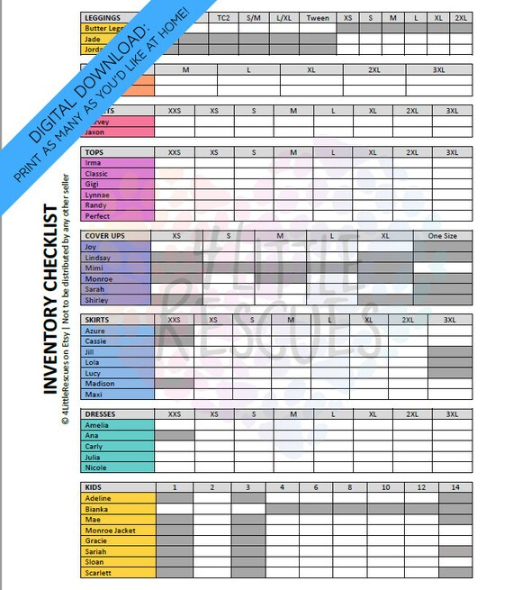 printable inventory sheets