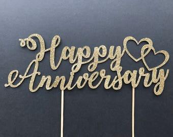 Happy Anniversary Cake Topper-Wedding anniversary Cake Topper-Handmade Cake Topper- Party Cake Topper-Celebration Cake Topper