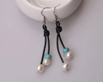 Women Handmade Freshwater Pearls Drop Earring, Genuine Leather Dangle Jewelry for girls Wholesale Fashion Hook Earrings