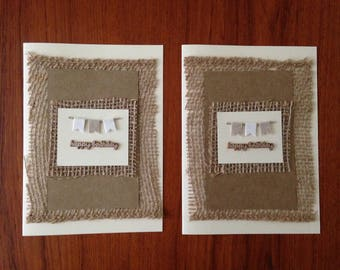 Set of 2 burlap birthday cards- rustic birthday- burlap and cream- kraft paper birthday