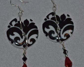Black and White Damask Coat Button Earrings