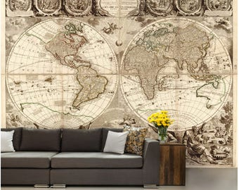 world map wall mural, vinly wall mural, vintage old map, mural, self-adhesive vinly, world map wall mural, old map 1702, war map wallpaper
