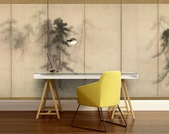 FOREST WALL MURAL, forest pine foggy wall mural, nature forest, foggy mural, peel and stick, mountains wall mural, foggy mountain wallpaper,