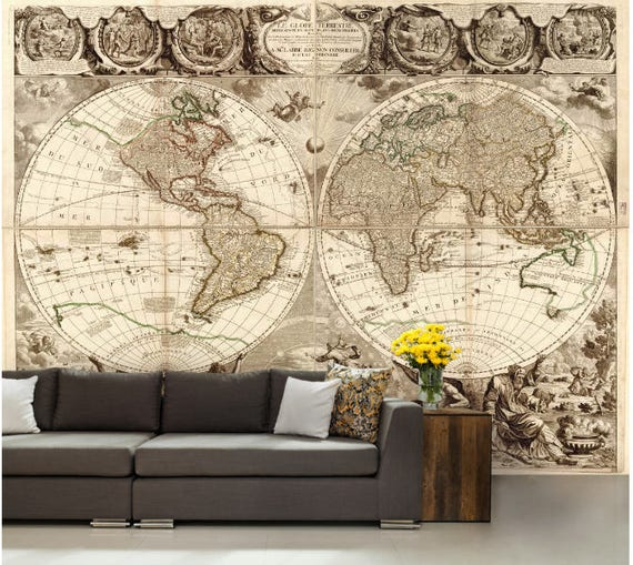World map wall mural vinly wall mural vintage old map like this item gumiabroncs Image collections