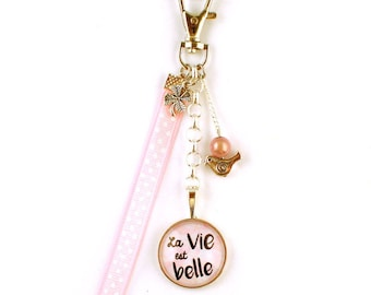 Bag charm - cabochon - life is beautiful (Pink)