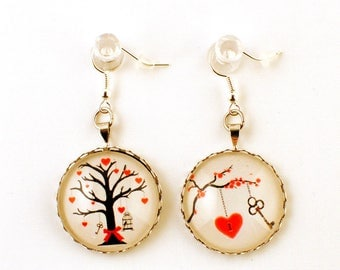 Earrings - cabochon - the tree of love