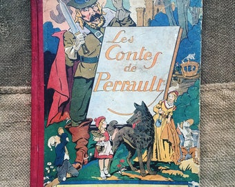 Fairy tales Perrault. Children's book. 1933 antique book. Illustrations. antique french. Rare.