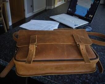 Laptop bag,messenger bag,man bag,real leather,hand made,black & tan,made in Wales,hand crafted, work bag,shoulder bag, brown man bag, large