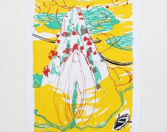 Silkscreen print - Screen print - Serigrafía - Ilustración - Illustration - Luna Moriana - A3