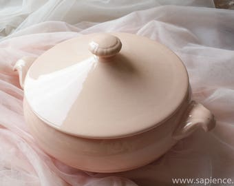 Lovely vintage French tureen powder colored, soft blush, pale pink