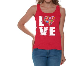 Autism Awareness Love Puzzles Tank Tops for Women Beach Tanks Autistic Support Puzzle Piece ASD Autism