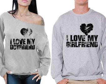 Boyfriend Girlfriend Matching Couple Sweatshirts I Love My Girlfriend I Love My Boyfriend Couple Sweaters Valentine's Day Gifts for Couples