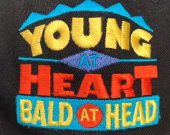 "Rare vintage snapback ""Young at heart, bald at head"" 90's snapback vintage rap shirt White men cant jump hip hop spike lee movie tee"