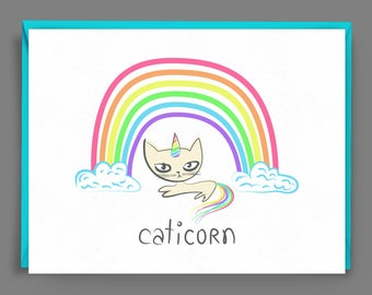 Funny Cat Card - Caticorn Cat Unicorn with Rainbow Horn - Blank Inside Greeting Card for Cat Lovers