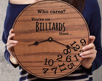 Funny Gifts for Pool Players - Billiard Room Decor - Gifts for Billiard Players - Gifts for Pool Hall - Game Room Decor - Billiards Time