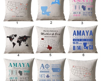 Custom Map Pillow, Locations Pillow, World Map Pillow cover, Travel Pillow, Going Away Gift, Housewarming Gift, Long Distance Relationship
