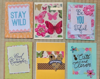 pack of 6 friendship cards, greeting cards, note cards, free shipping.