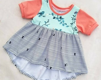 Dressy top / bird bliss/ spring / summer / high low top / floral / stripe / baby girl