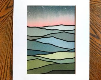 PRINT-- Night sky, Pink Glow over Mountains