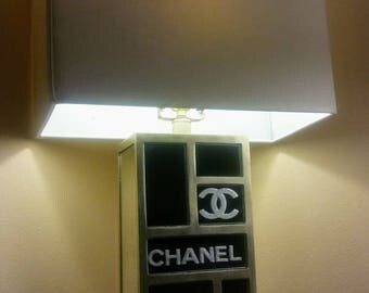 Chanel inspired etched mirrored lamp set