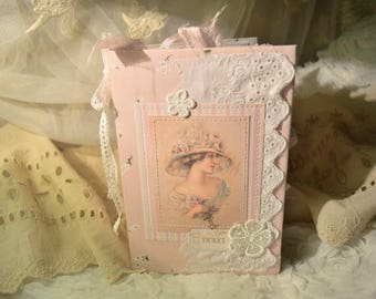 Junk Journal, Vintage, Victorian Lady, Cute Wedding GuestBook, Personal Diary, Soft Cover, Gift, Women's Journal, Writing Journal, Junk Book