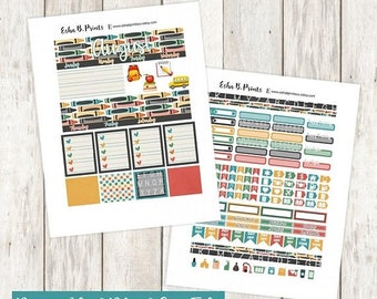 B2S SALE Back to School Printable Planner Stickers/Monthly Kit/Erin Condren/Cutfile/August Fall Glam School Learn Bus Apple Alphabet Books
