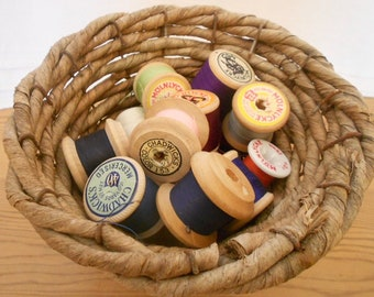 5 Thread Spools, Sewing Thread, Wabi Sabi Decor, Molnlycke Spools, Wooden Spools, Sewing Decor, Craft Spools