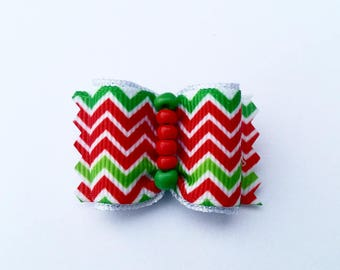 Dog hair bow- CANDY CANE LIKE - sweet dog hair bow ( pet hair accesories, dog hair accesories )* gift for little dogs * top knot dog bow