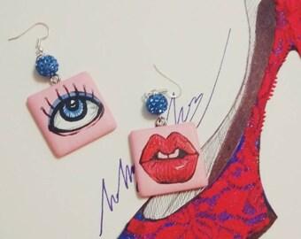 eye&lips wood art earrings