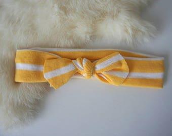 Yellow & White Stripe Stretch Knit Headband