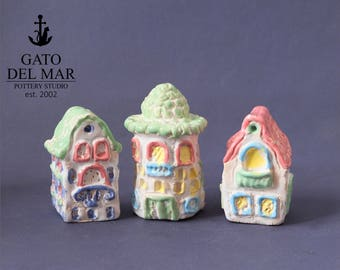 3 Houses - miniature pottery houses, Ceramic houses, Small clay houses, Tiny house