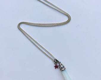 Clear opalite pendant necklace