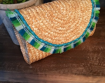 Straw Clutch with Multi Colored Blue Green Fringe, Turquoise Trim