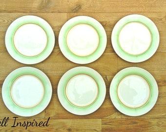 Dinner plates, Vintage dinner plates, Green dinner plates, plates, dinner plate, rustic dinnerware