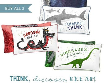 THINK, DISCOVER, DREAM Positivity Pillow Collection (Set of 3)