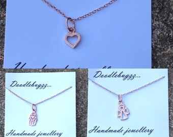 Rose gold vermeil necklace with charm